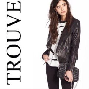 Trouve zip sleeve leather jacket